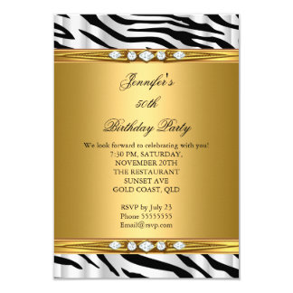 Elegant Gold Zebra Black Silver Diamond Birthday 2 Card