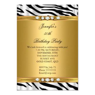 "Elegant Gold Zebra Black Silver Diamond Birthday 2 5"" X 7"" Invitation Card"