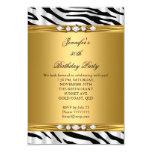 Elegant Gold Zebra Black Silver Diamond Birthday 2 3.5x5 Paper Invitation Card