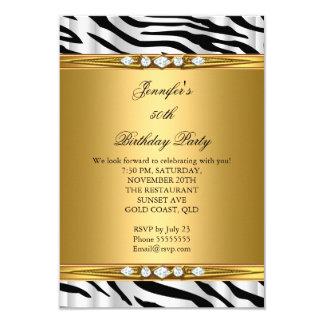 "Elegant Gold Zebra Black Silver Diamond Birthday 2 3.5"" X 5"" Invitation Card"