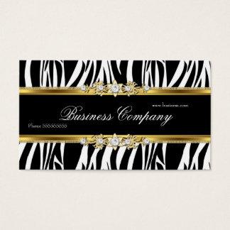 Elegant Gold Zebra Black White Silver ORNATE Business Card