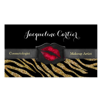 Elegant Gold Zebra Glitter Kiss Cosmetologist Double-Sided Standard Business Cards (Pack Of 100)