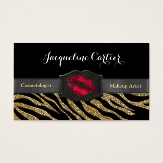 Elegant Gold Zebra Glitter Kiss Cosmetologist Business Card