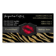 Elegant Gold Zebra Glitter Kiss Cosmetologist Magnetic Business Card at Zazzle
