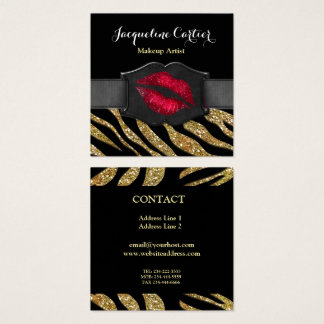 Elegant Gold Zebra Glitter Kiss Cosmetologist Square Business Card