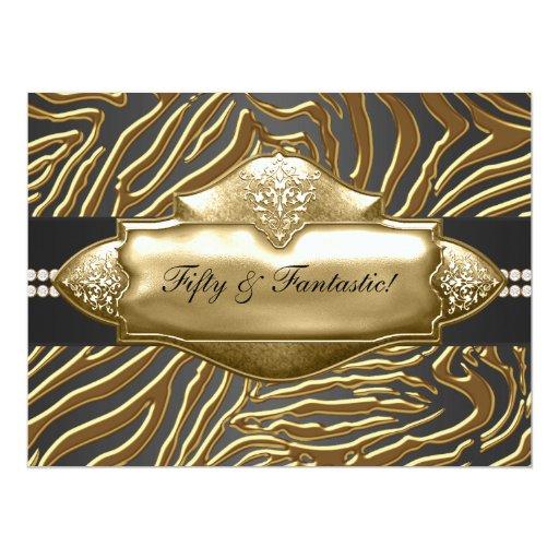 Elegant Gold Zebra Womans 50th Birthday Party 6.5x8.75 Paper Invitation Card