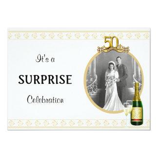 "Elegant Golden 50th Anniversary Party invitations 5"" X 7"" Invitation Card"