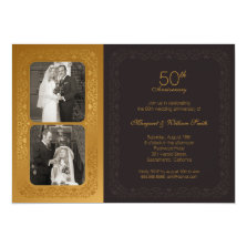 Elegant Golden 50th wedding Anniversary 2 Photos 5x7 Paper Invitation Card
