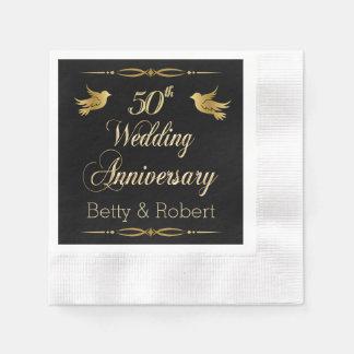 Elegant Golden 50th Wedding Anniversary Paper Napk Paper Napkin