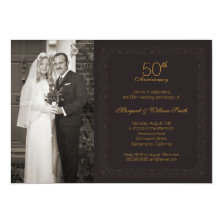 Elegant Golden 50th wedding Anniversary Plus Photo 5x7 Paper Invitation Card