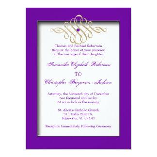 Elegant Golden Accent Gold Wedding Invite