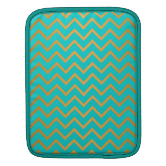 elegant golden and turquoise chevron pattern iPad sleeve
