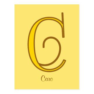 Elegant golden art nouveau monogram C personal Postcard