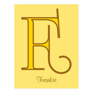 Elegant golden art nouveau monogram F personal Postcard