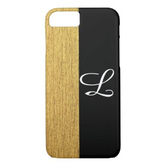 Elegant Golden Black Monogrammed