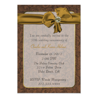 Elegant Golden Brown Damask Anniversary Invitation