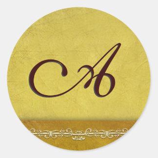 Elegant golden brown monogram envelope seals classic round sticker