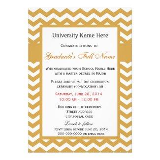 Elegant golden chevron graduation ceremony announcement