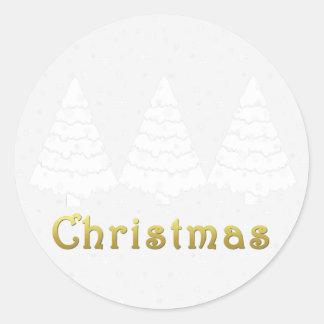 Elegant Golden Christmas Classic Round Sticker