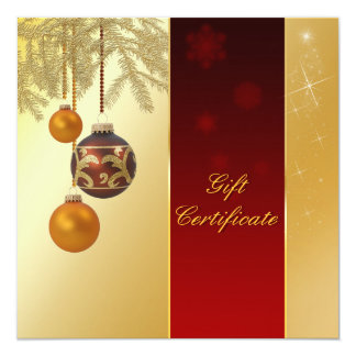 Elegant Golden Christmas - Gift Certificate Card