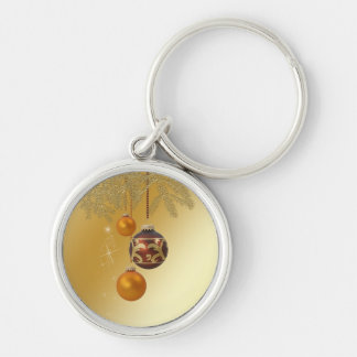 Elegant Golden Christmas - Round Keychain