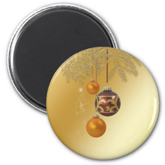 Elegant Golden Christmas - Round Magnet