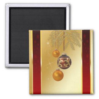 Elegant Golden Christmas - Square Magnet