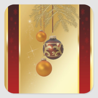Elegant Golden Christmas - Square Sticker