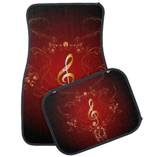 Elegant golden clef with floral elements car floor mat