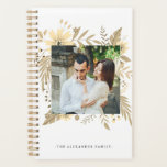 "Elegant Golden Color Floral Two Photo Planner<br><div class=""desc"">Elegant Floral Double Photo Planner.</div>"