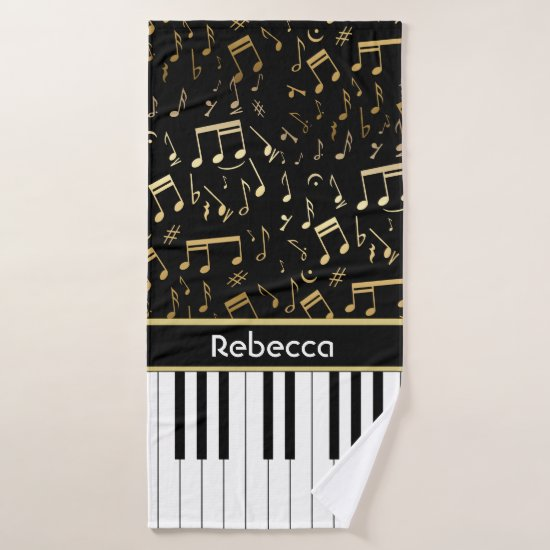 Elegant golden coloured music notes piano keys bath towel set