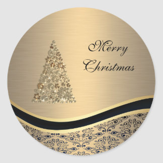 Elegant golden damask Christmas tree winter Classic Round Sticker