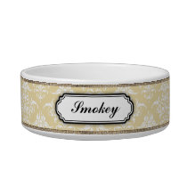 Elegant Golden Damask Name Bowl