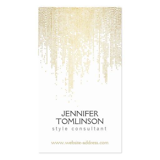 Elegant Golden Dot Pattern on White Business Card