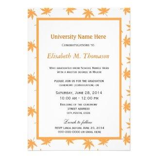 Elegant golden fall leaves graduation custom announcements