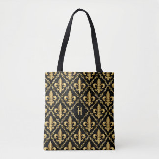 Elegant Golden Fleur-de-Lis Pattern Monogram Tote Bag