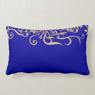 Elegant Golden Floral Ornament Blue Throw Pillow