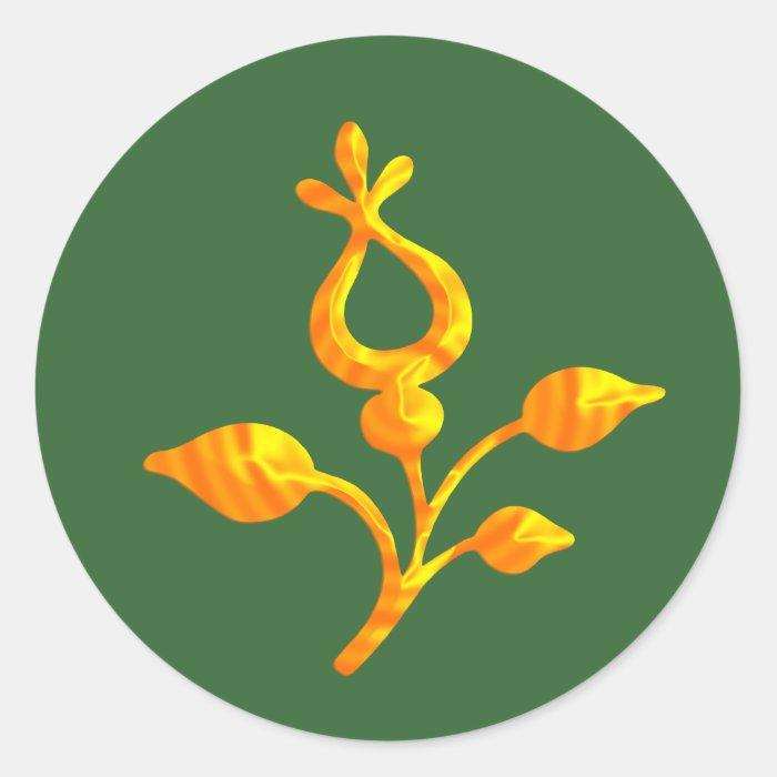 Elegant Golden Flower Classic Round Sticker