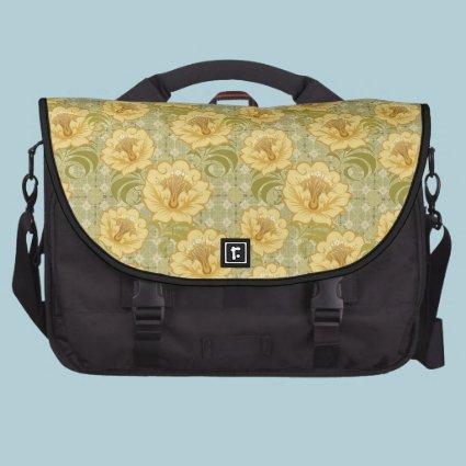 Elegant golden flowers satchel bag for laptop