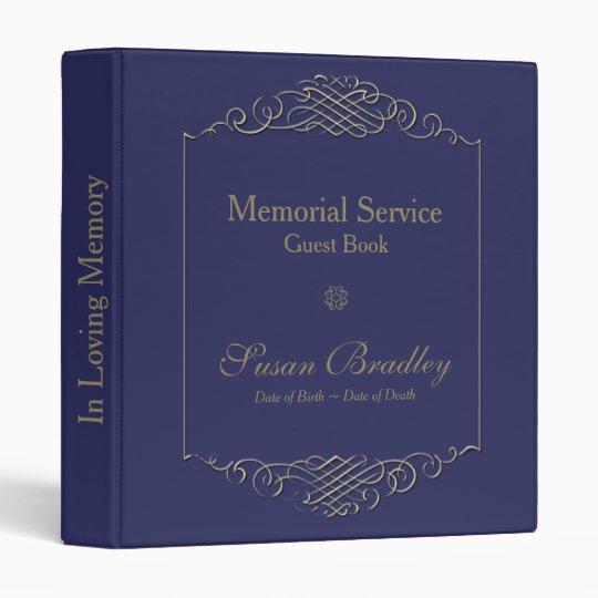 Elegant Golden Frame 2 Memorial Service Guest Book 3 Ring Binder