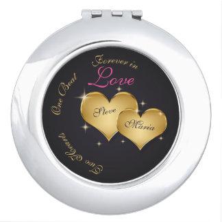 Elegant Golden Hearts - Compact Mirror