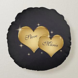 Elegant Golden Hearts - Round Pillow