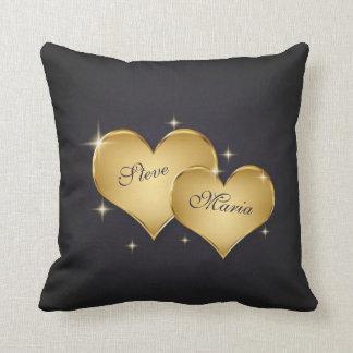Elegant Golden Hearts - Square Pillow