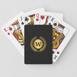 Elegant Golden Laurel Wreath with Monogram Playing Cards