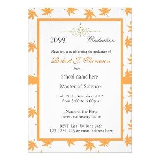 Elegant golden leaves high achievement graduation announcements