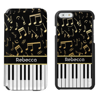 Elegant golden music notes piano keys iPhone 6/6s wallet case