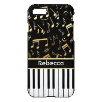 Elegant golden music notes piano keys iPhone 7 case
