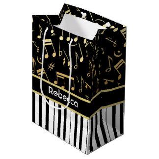 Elegant golden music notes piano keys medium gift bag