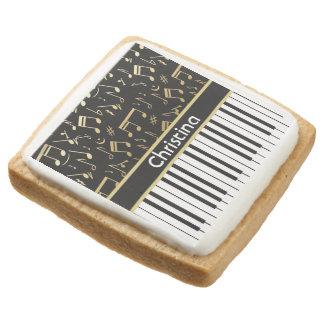 Elegant golden music notes piano keys square premium shortbread cookie