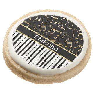 Elegant golden music notes piano keys round premium shortbread cookie